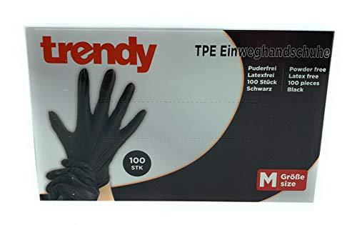 MC-Trend 100 Stück TPE Einweg Handschuhe Schwarz Einmalhandschuhe puderfrei Latexfrei in Spenderbox (Large)