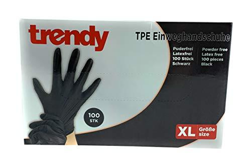 MC-Trend 100 Stück TPE Einweg Handschuhe Schwarz Einmalhandschuhe puderfrei Latexfrei in Spenderbox (Medium)