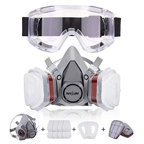 NASUM Halb Gesicht Abdeckung Wiederverwendbare, Serie Grau M401, mit Schutzbrille, Filter*2, Baumwolle*8(Mitte)