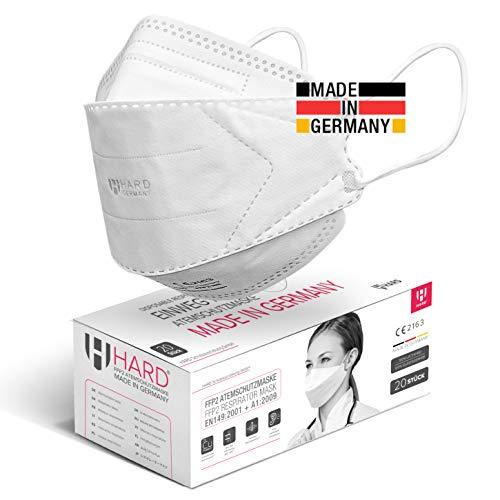 HARD 20 Stück FFP2 Atemschutzmaske, Made in Germany EN 149:2001+A:2009 zertifizierte Maske filtert 99,5%, Antibakterielle Kupfer Nano Technologie, NICHT EINZELN VERPACKT Umkarton eingeschweißt - Weiß