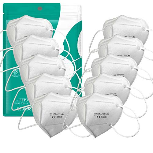 Uniguardian 10pcs-FFP3 MASKE - Einzeln verpackt Atemschutzmasken,EN 149:2001+A1:2009 Zertifiziertes,Höchste Filterklasse 99% Filter-ohne Ventil
