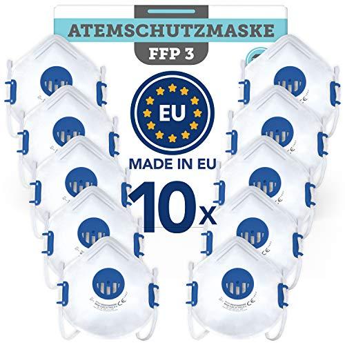 Atemschutzmaske FFP3 wiederverwendbar (10 STK.) Made in EU CE zertifiziert (EN149:2001+A1:2009) - Premium Maske mit Ventil für zuverlässigen Atemschutz gegen feste (Asbest) und flüssige Partikel