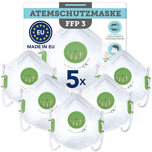 5 Stück CE-zertifizierte Masken (Filtering Face Piece 3) – Made in EU nach europäischen Standards